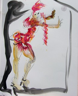 ink and watercolor drawing of a burlesque dancer in a short red dress pushing against a wall