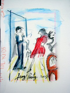 ink and watercolor sketch of people talking at a party