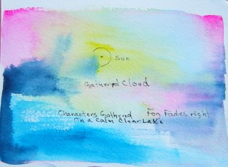 watercolor sunset with text poem describing the image beneath