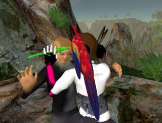 two avatars dancing