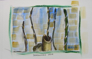 honoria starbuck watercolor painting of rain sticks in a coffee house