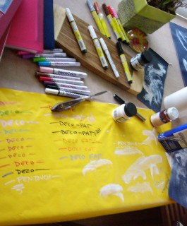 snapshot of honoria starbuck's studio tests of paint samples on vinyl