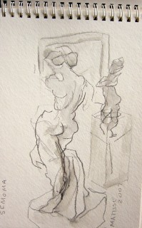 pencil drawing of Matisse sculpture by honoria starbuck