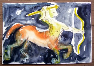archer and bow watercolor mail art by Honoria Starbuck