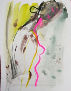 female nude with hot pink silhouette by honoria starbuck