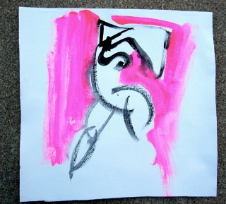black and pink abstracted figure by Honoria Starbuck