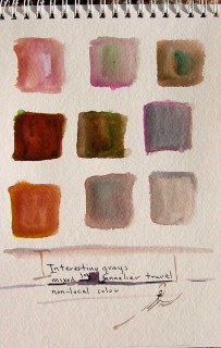 watercolor grid of mixed grays by Honoria Starbuck