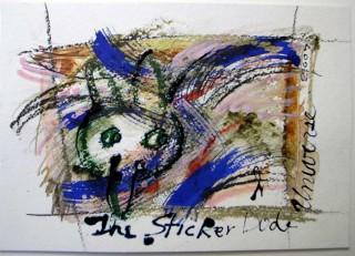 mixed media postcard with Ray Johnson bunny head