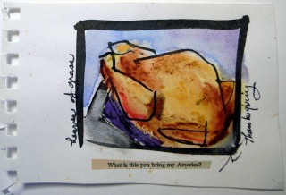 watercolor of a turkey by honoria starbuck with text by Walt Whitman