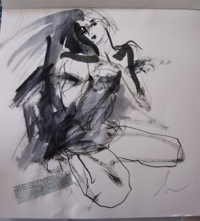 ink drawing by honoria starbuck with text from fashion magazine