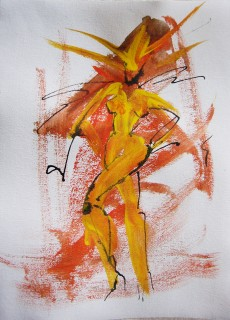 Life drawing of female nude with flaming hair in orange, yellow, and black ink by Honoria Starbuck