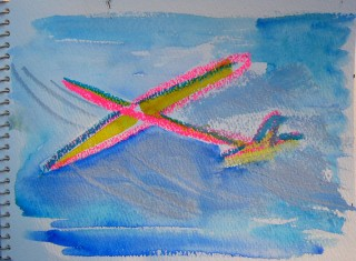 watercolor drawing of a sailplane in the sky