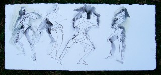 four fast figure drawings in india ink