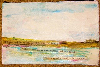 wartercolor and collage of text from Leaves of Grass