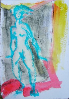figure drawing in oil pastels