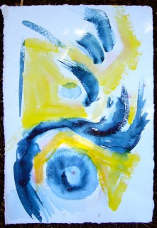 abstract painting in blue and yellow watercolor