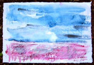 red land and indigo sky watercolor painting