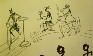 Stick figures at a pub