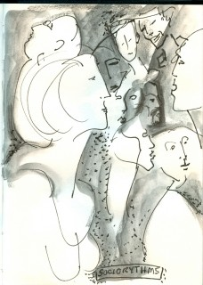 ink and soluble graphite sketch of partygoers