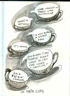 cartoon of party conversation