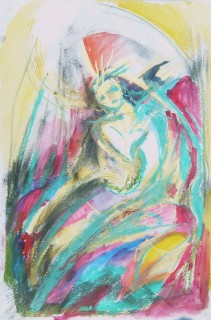 Life drawing in oil pastel, graphite, and watercolor by Honoria Starbuck