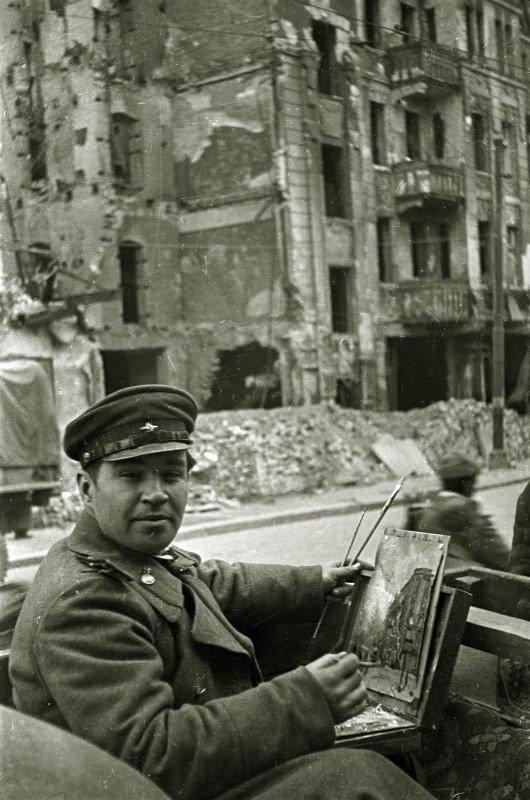 На этюдах в Берлине, весна 1945 г.