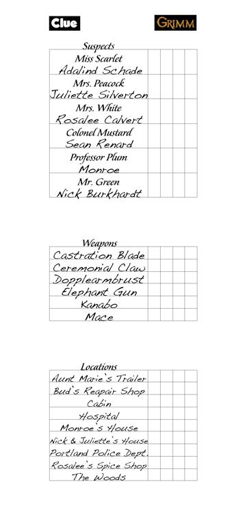 Clue Sheet