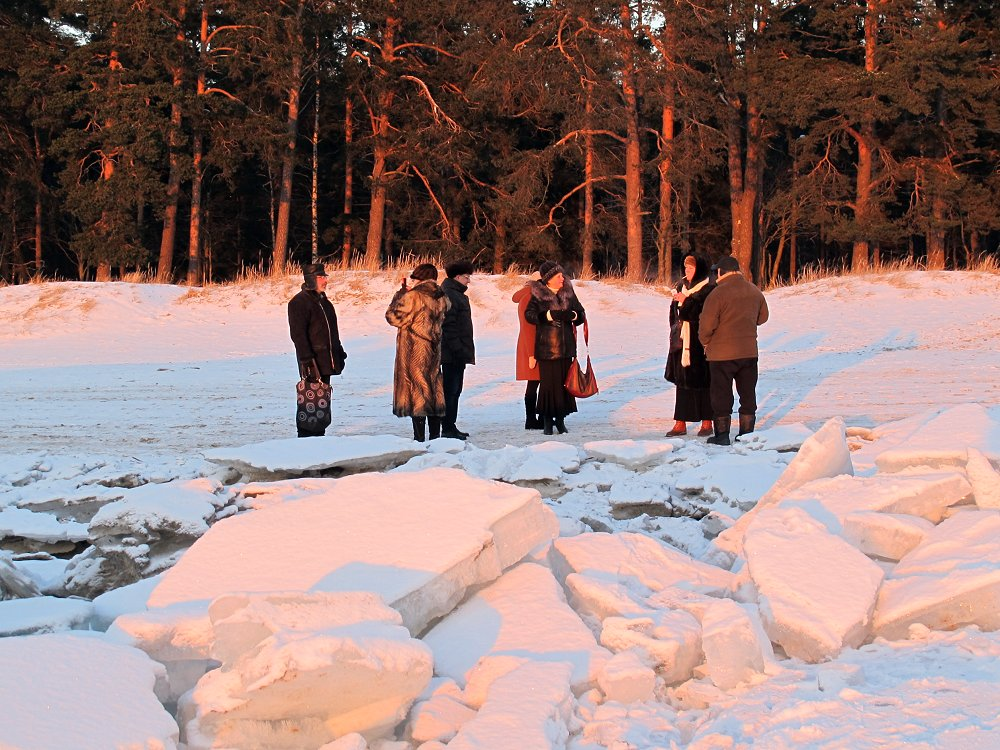 писатели на снегу