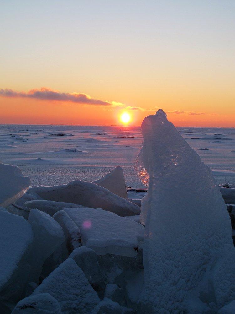 закат над Маркизовой лужей при -23°C
