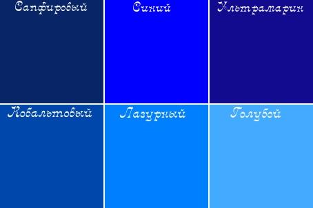 Названия. синего цвета