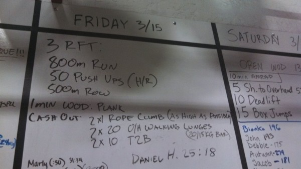 Friday 3-15-13 Crossfit Board