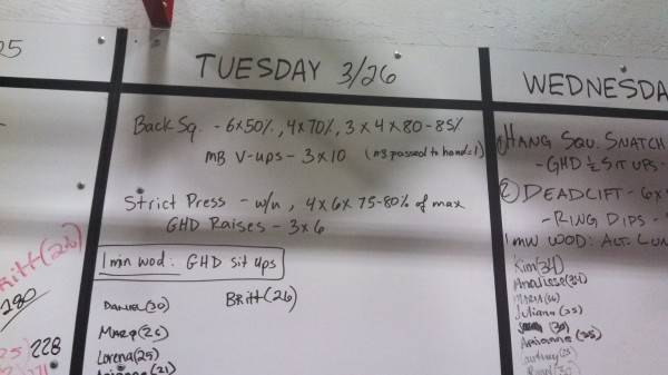 March 26 - Board - Crossfit
