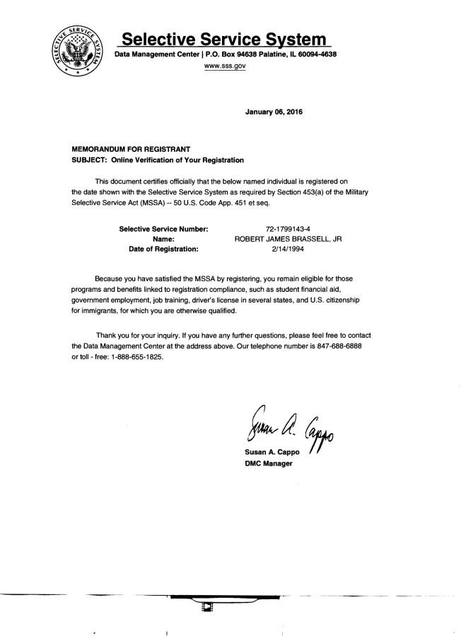 my us selective svc system verification of registration letter image 01