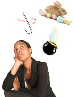 A woman looking thoughtful as an easter bunny, a pot of gold and candy canes float above.