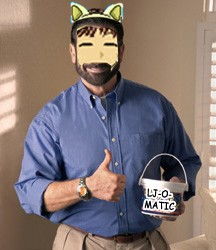 Cat dressed up as Billy Mays holding a bucket o LJOMATIC