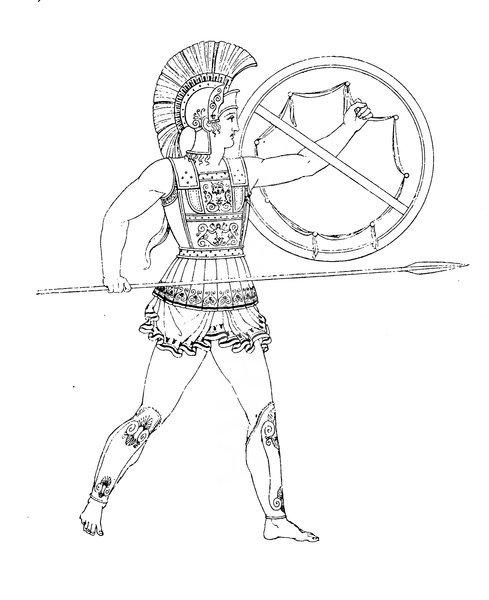 греческий гоплитъ  1441568-greece-greek-warrior-in-full-armor-history-of-fashion-cos