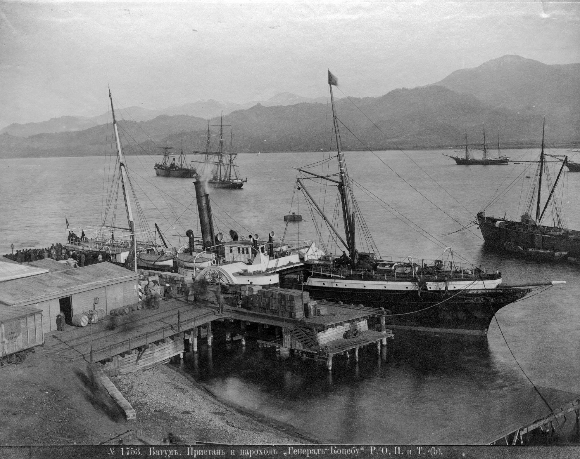 Пристань и пароход «Генерал Коцебу» Р.О.П. и Т.