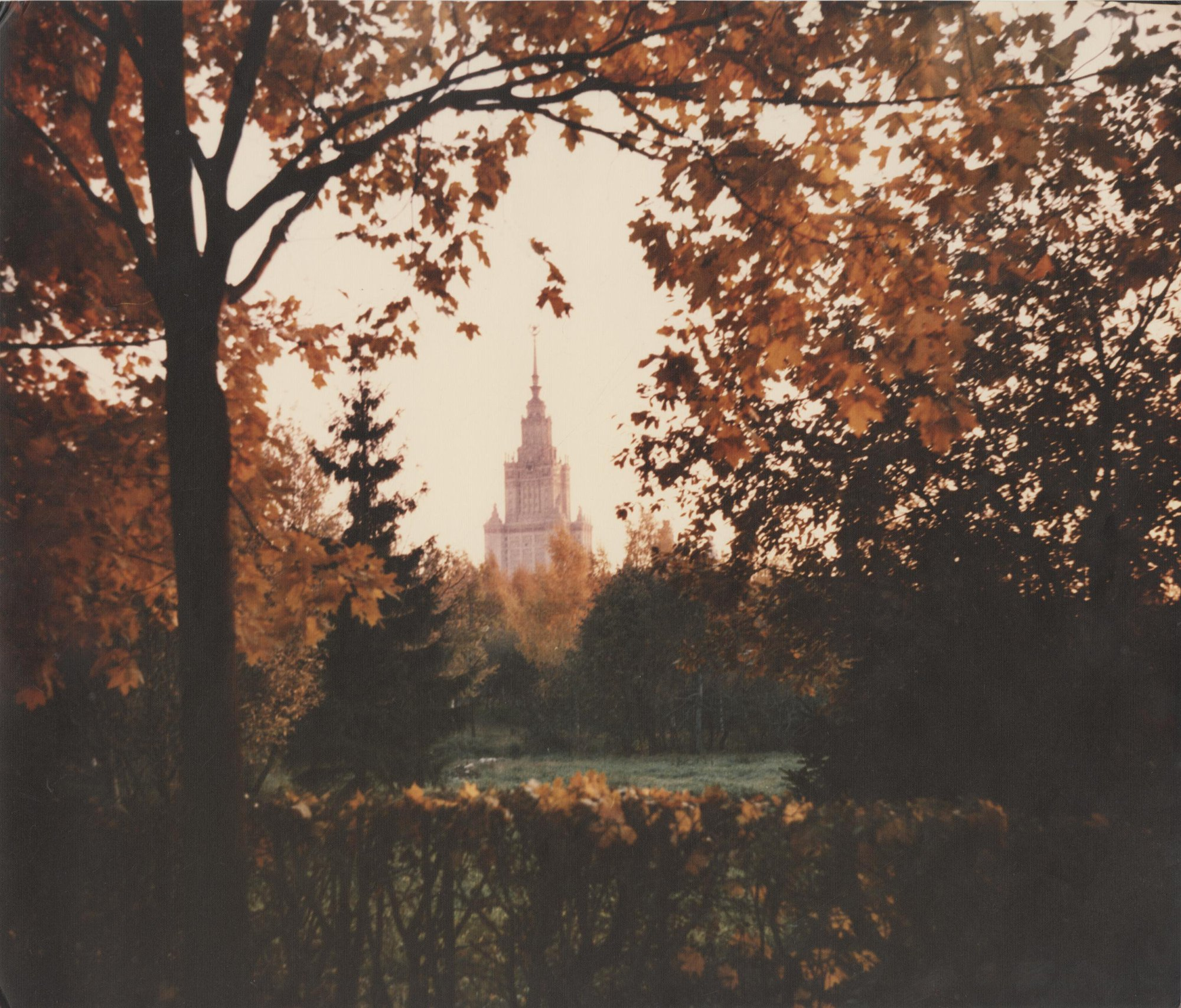 1980-е. Вид на главное здание МГУ из парка