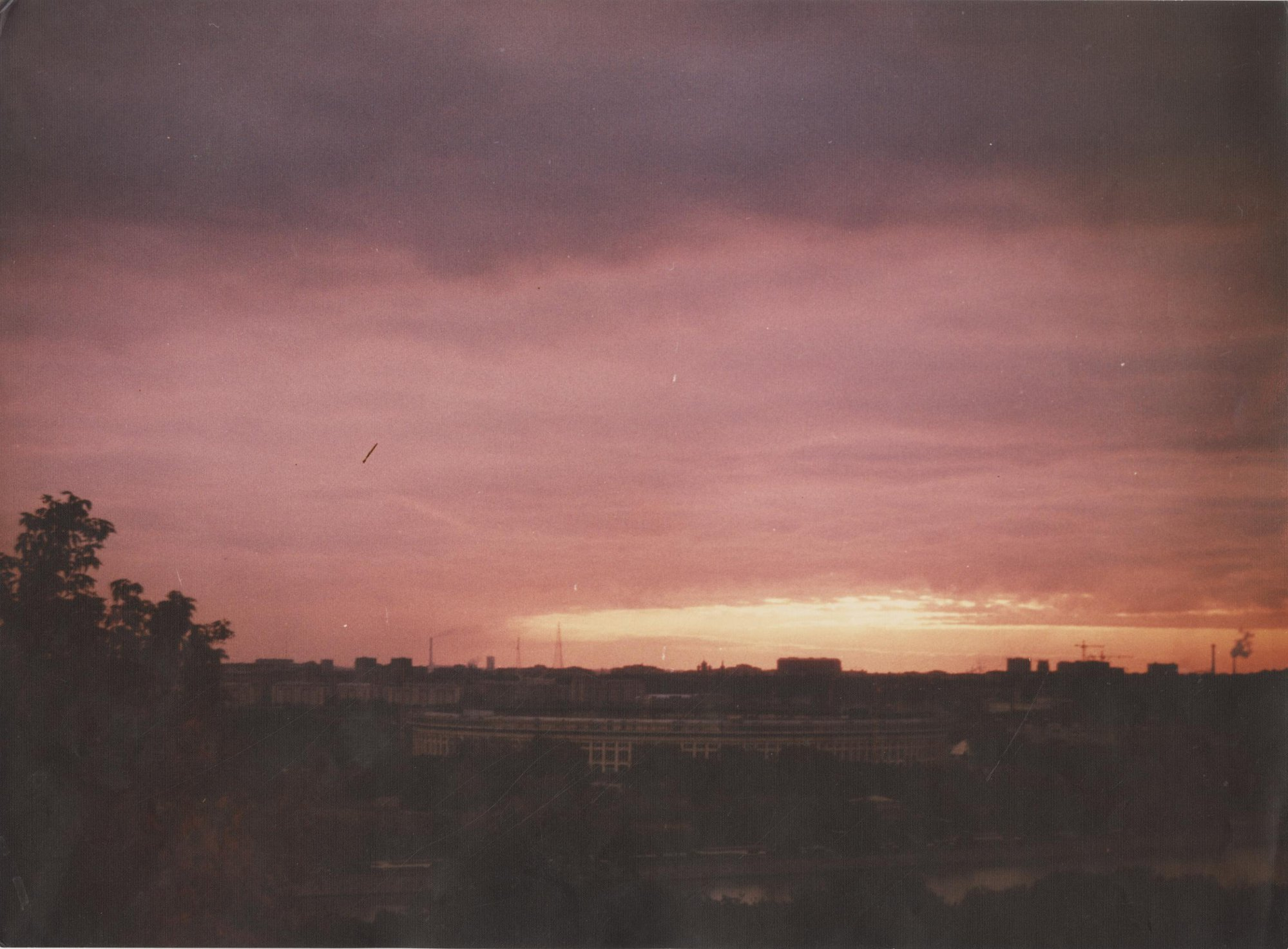 1980-е. Вид на Центральный стадион во время заката