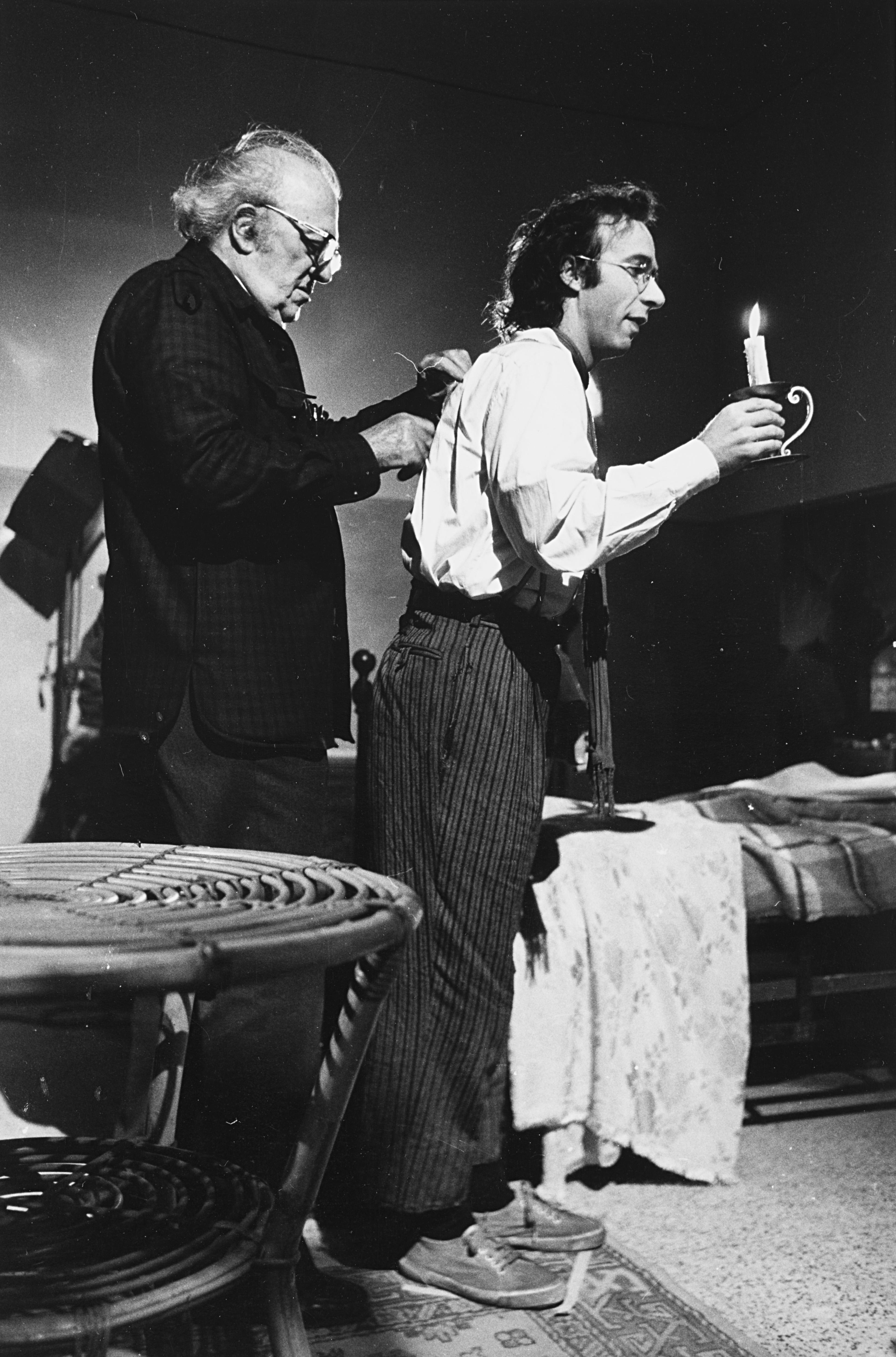 1989. Федерико Феллини и Роберто Бениньи на съемках фильма «La voce della luna»