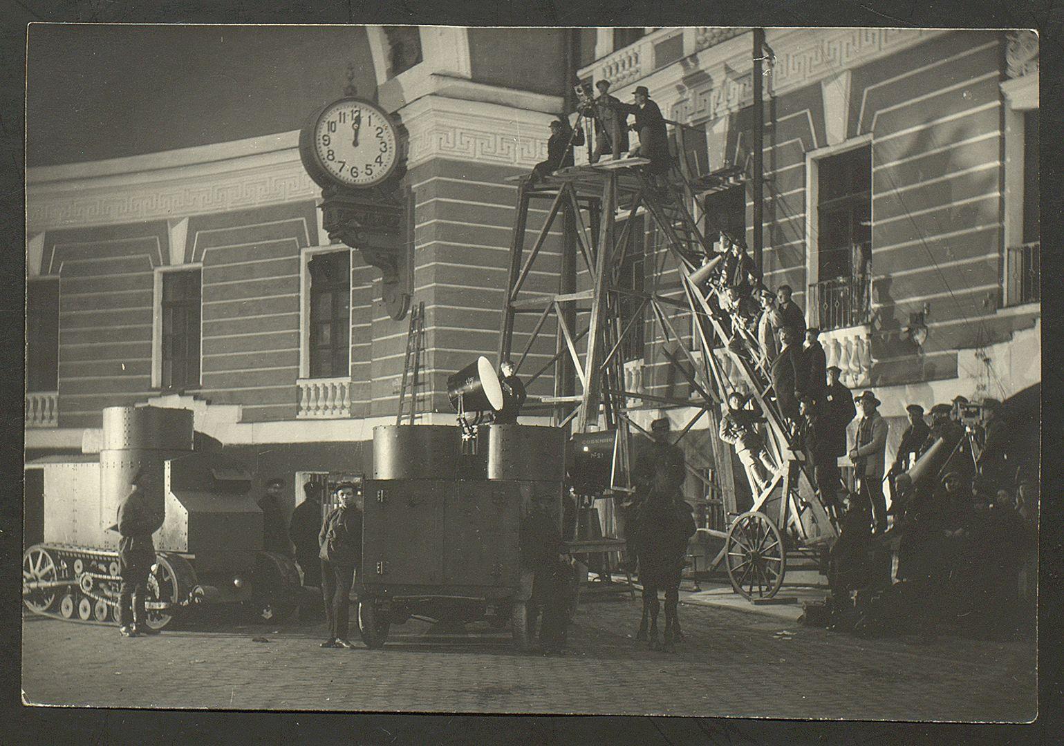 Съемки фильма «Октябрь». 1927