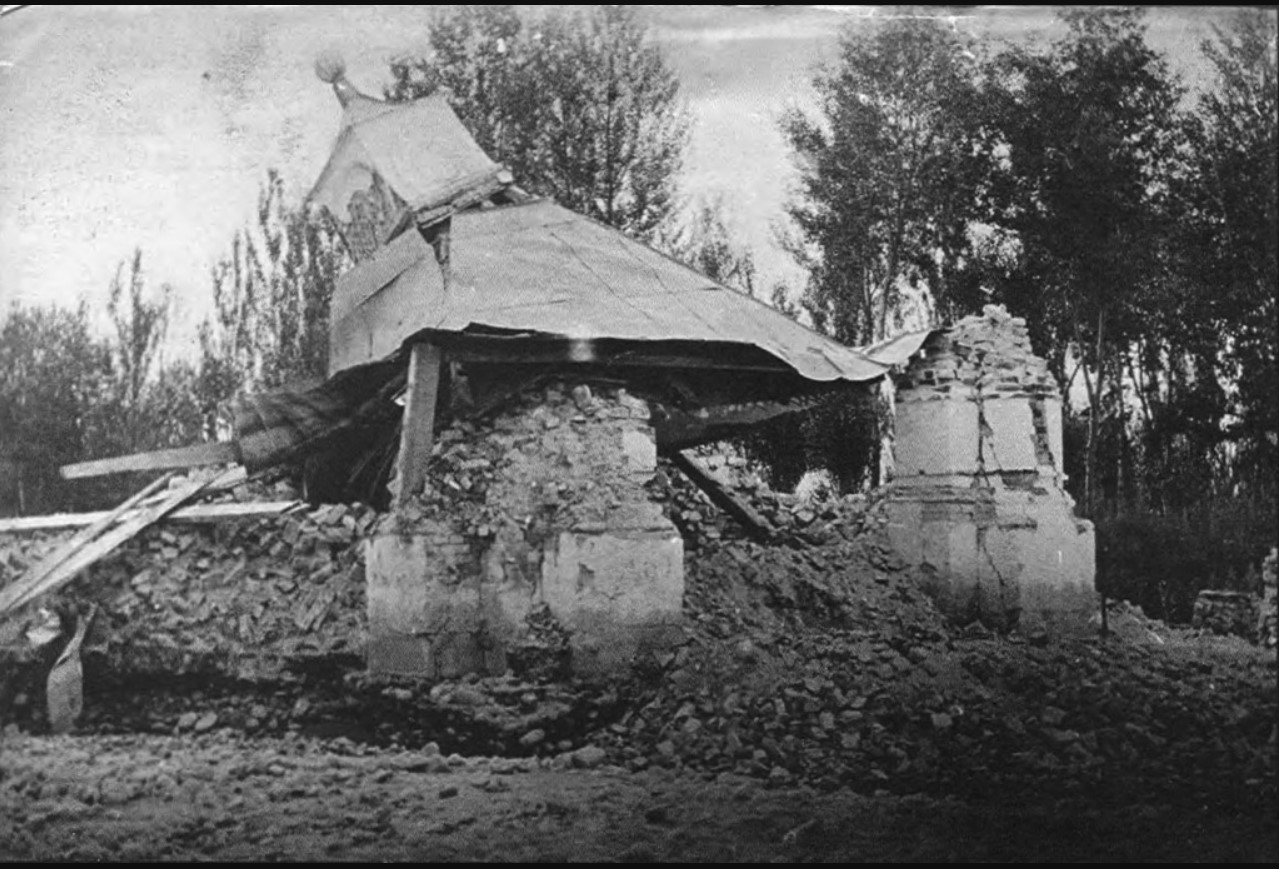 Беседка Губернаторского дома после землетрясения. 1887