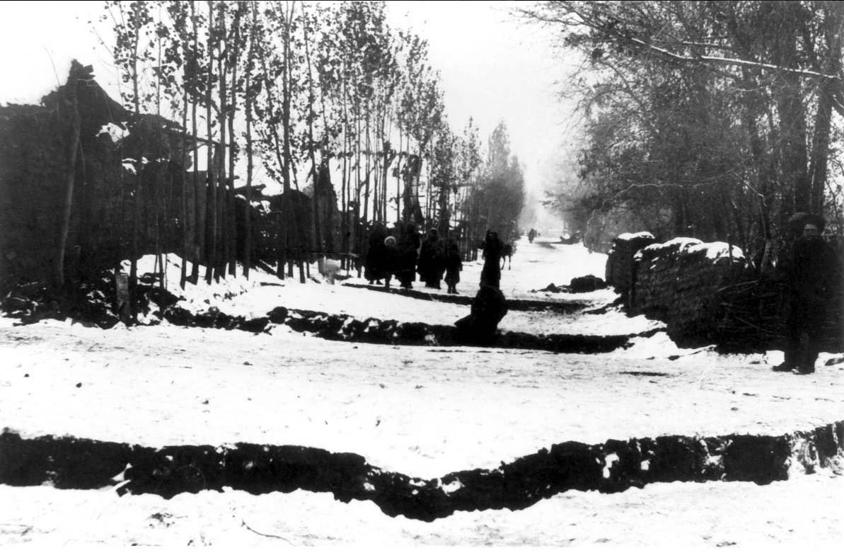 Трещины в земле после землетрясения. 1887