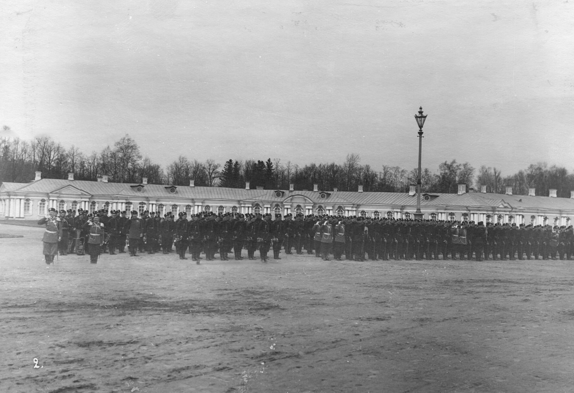 Парад 2-го стрелкового Царскосельского батальона. 7 апреля 1903