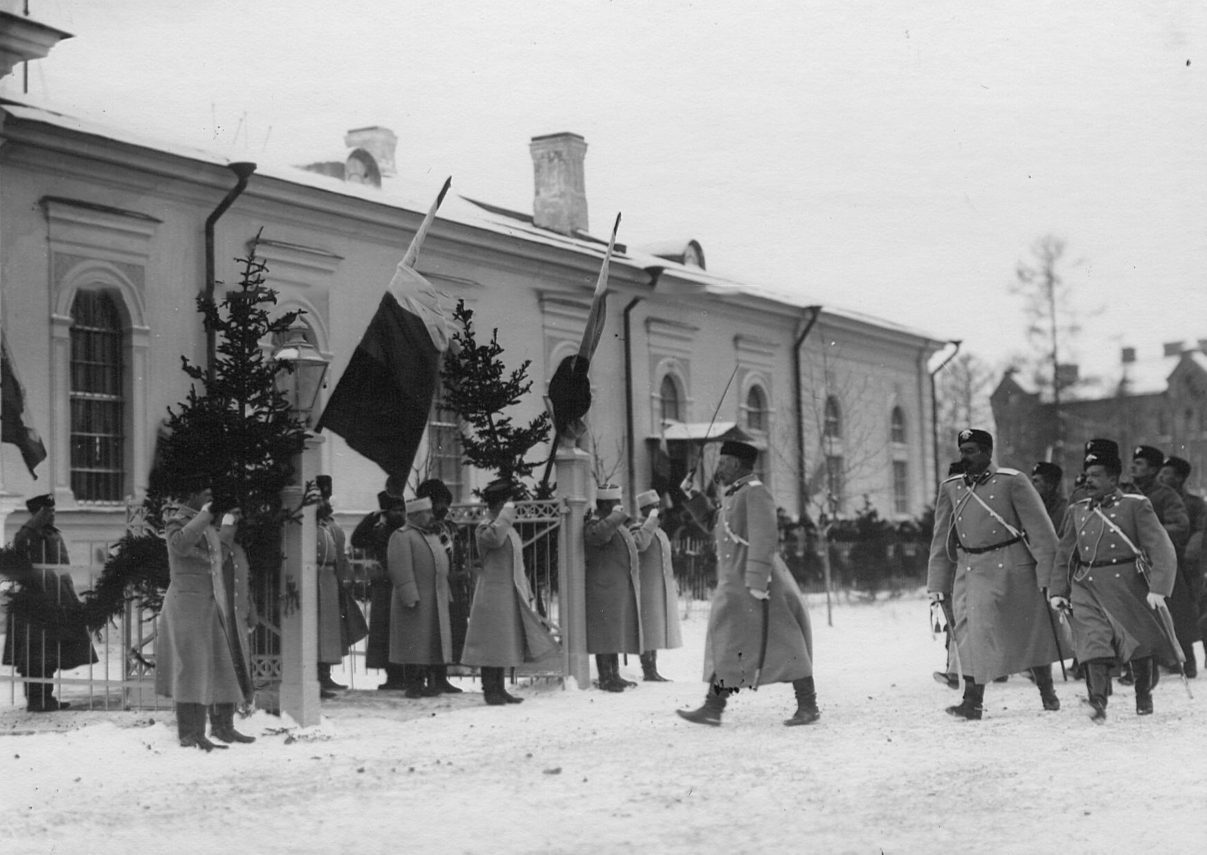 Церемониальный марш во время  парада 2-го стрелкового Царскосельского батальона. До 1909