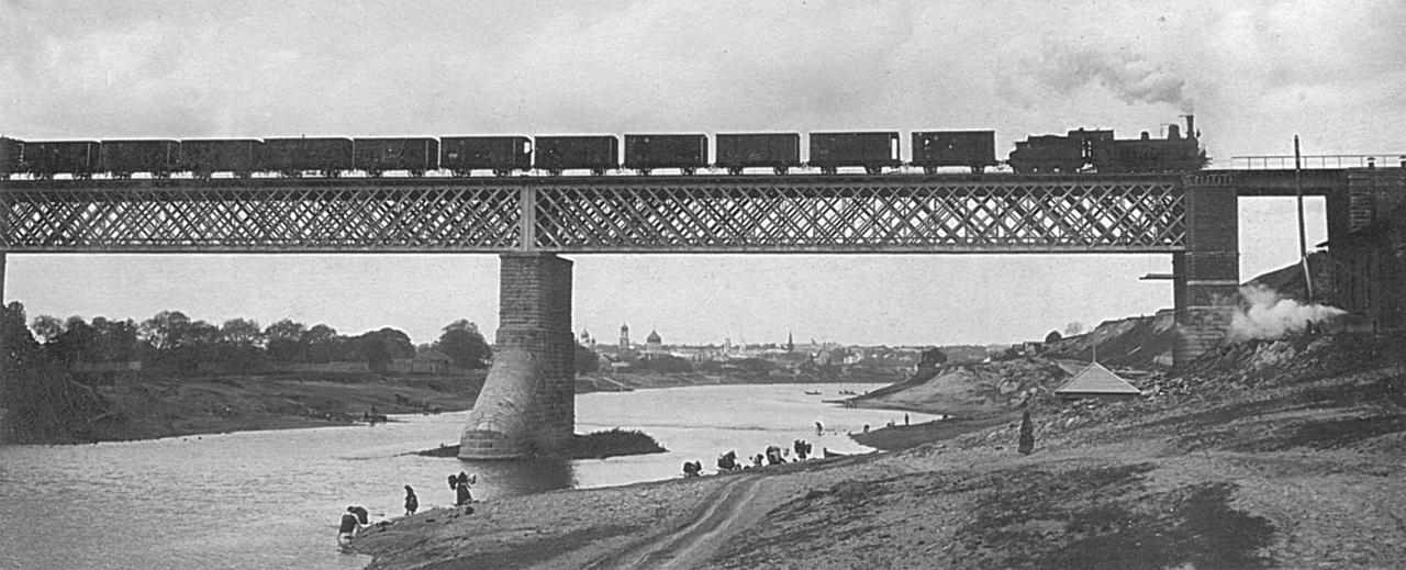 Вид на железнодорожный мост через Оку, 1907
