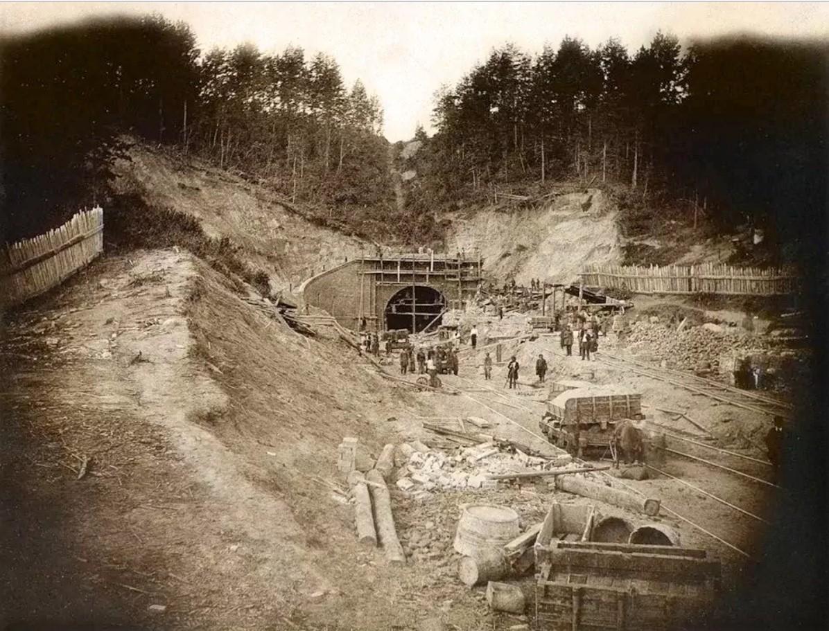 Строительство Понарского железнодорожного тоннеля. 1860