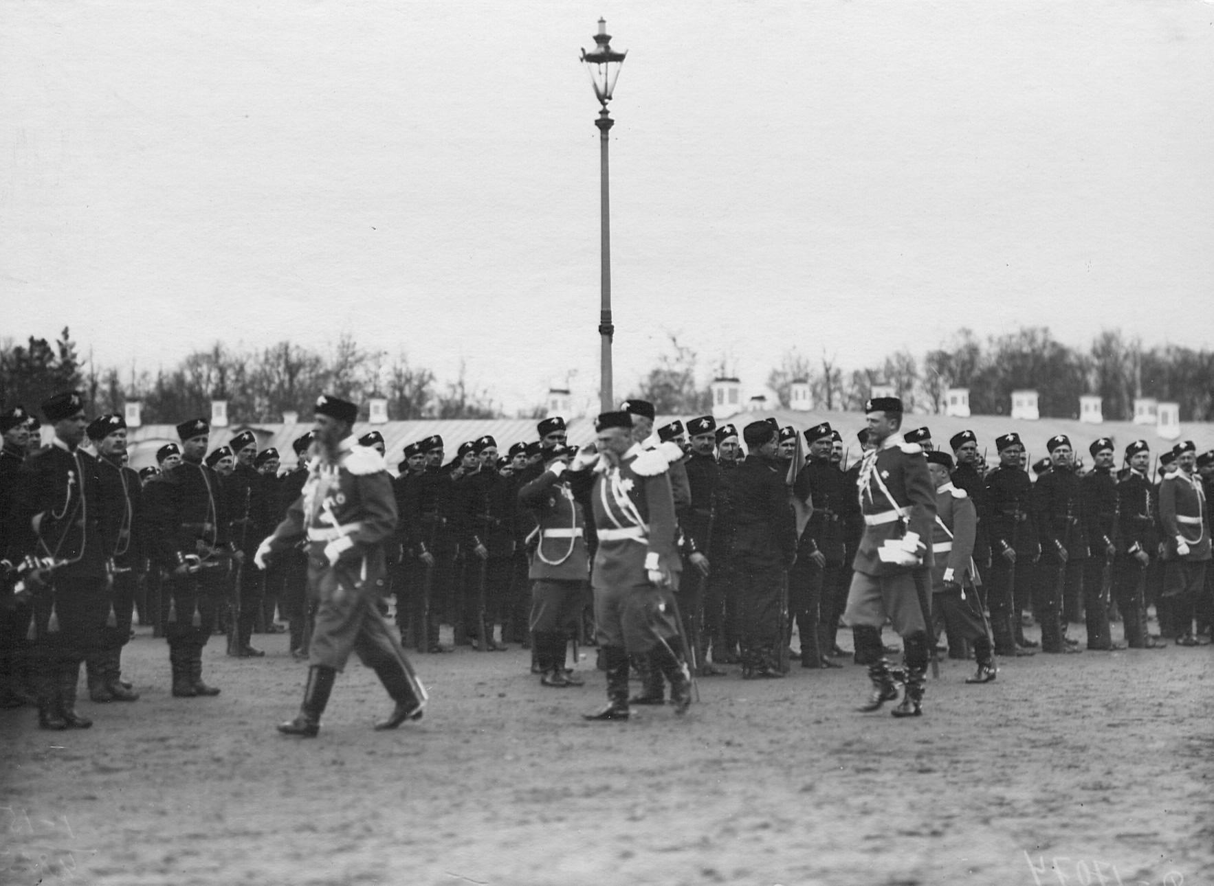 Парад 2-го стрелкового Царскосельского батальона. 21 апреля 1905