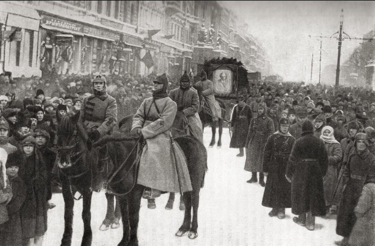 Траурная демонстрация на Невском проспекте в день похорон В.И. Ленина