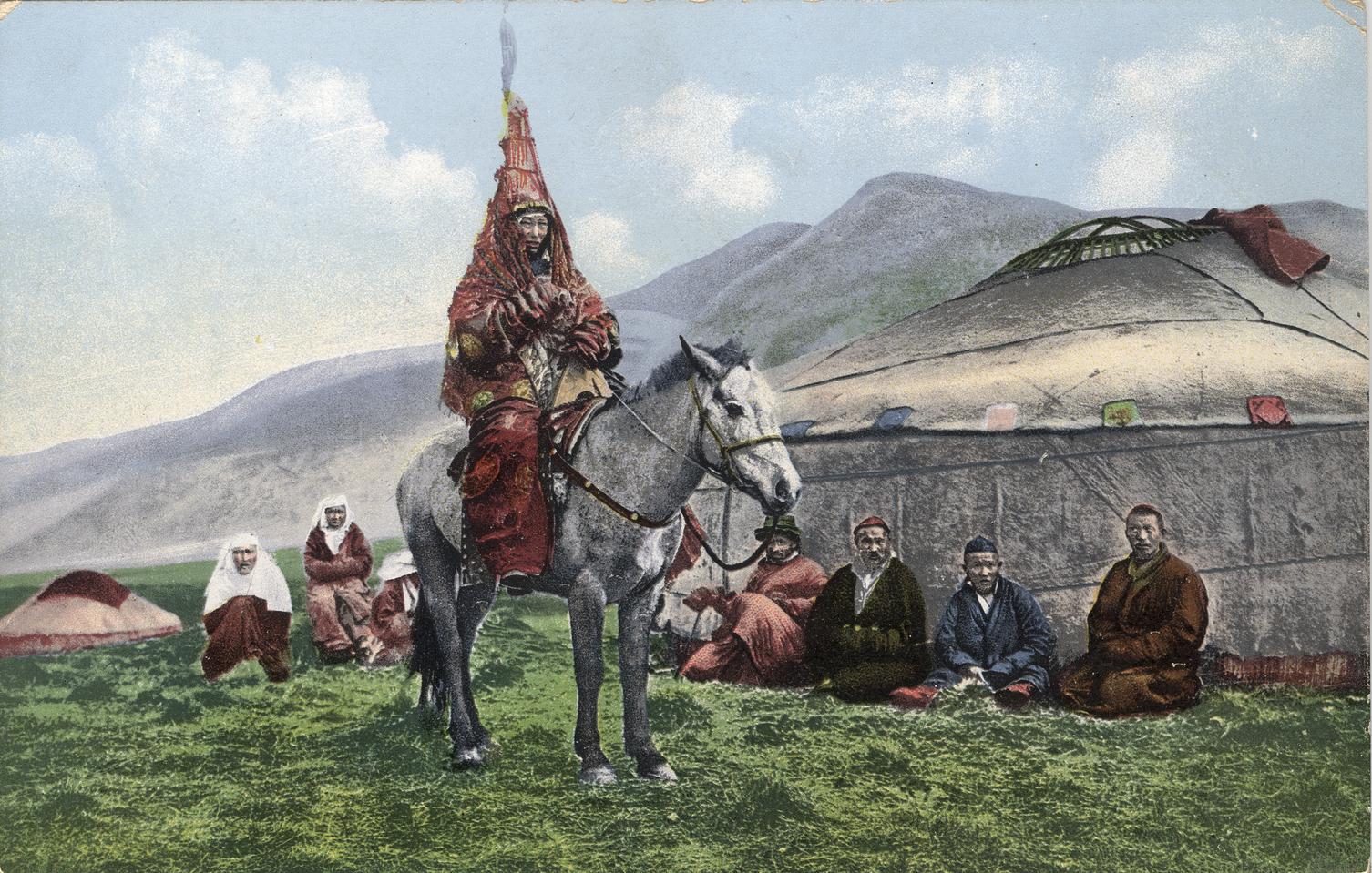 Женщина-казашка в свадебном наряде на лошади